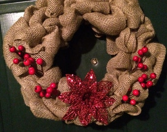 Burlap wreath with flower detail