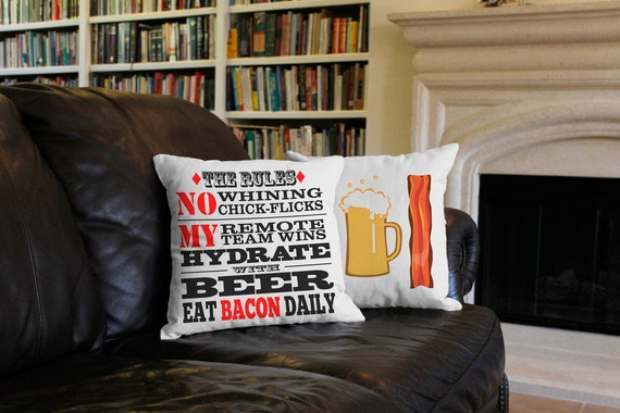 Man Cave Rules - 2pc Throw Pillow Cover/Cushion Set