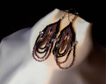 Lavender and Black Feather Charm Earrings