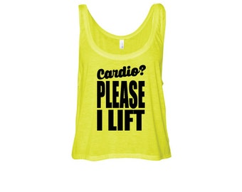 Weight Lifting  tank top, neon yellow, crop flowy top