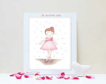 Ballerina wall art, Girls Room Decor, Pink tutu, Ballerina print, Baby girl nursery wall art, Ballerina art, Watercolor Dancer print