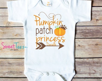 Pumpkin Patch Princess Shirt Girl Pumpkin Patch Shirt Baby Bodysuit Personalized with Name and year