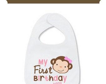 My First Birthday Bib My First Bib Monkey Personalized with Name Baby
