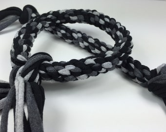 Midnight Braided Rope Dog Toy from Upcycled T-shirts