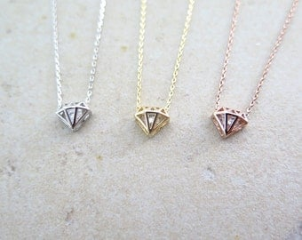 Dainty diamond shape necklace / Delicate diamond shape necklace / Gift necklace
