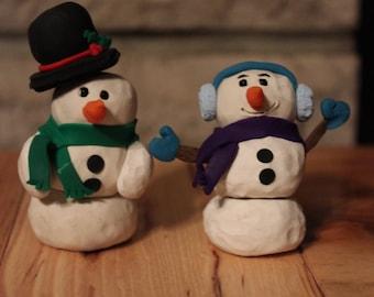 Snowmen Couple (2pc) ~ Polymer clay