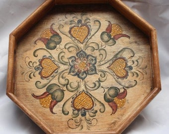 Signed Vintage Wood Tole Serving Tray / Hand Painted Floral / Hexagon Tray / Display Tray /  1982