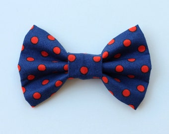 Blue and Red Polka Dot Dog Bow Tie / Dog Collar Flower