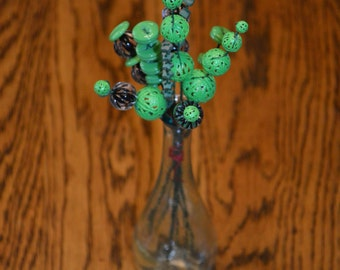 Green and Black Button Flowers