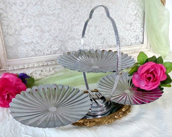 Vintage French 1950's 3 Tiers Foldable Portable Cake Sweets Canapés Stand, Silver Metal Shell Design, Made in France
