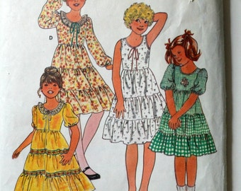 Uncut 1980s Butterick Vintage Sewing Pattern 6090, Size 8; Girls' Dress