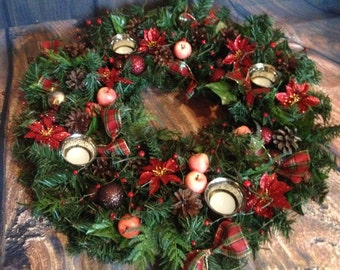 Christmas wreath, advent wreath, table wreath, large Christmas wreath