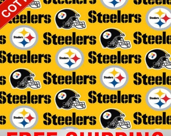 """Pittsburgh Steelers Cotton Fabric NFL Style PIT-6336 60"""" Wide Free Shipping"""