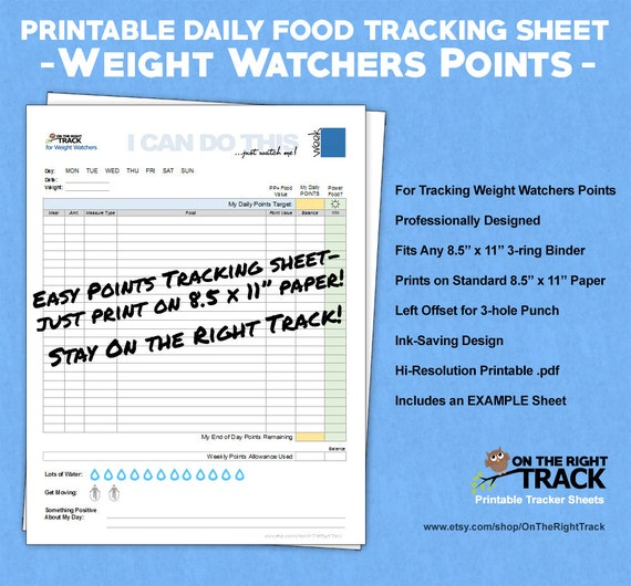 Daily food tracking sheet for weight watchers points - Cuisine weight watchers ...