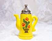 Yellow Coffee Pot Trinket - Vintage Kitchen - Vintage Decor - Yellow Kitchen - Vintage Knick Knack - Coffee Lover - Retro Kitchen
