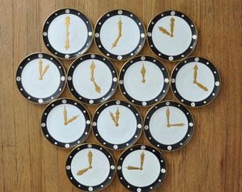 Ed Langbein Mid-Century Clock Dial Dinner Plates
