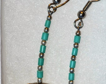 E-006: Solid Sterling Silver Whale/Turquoise Bead Dangle Earrings