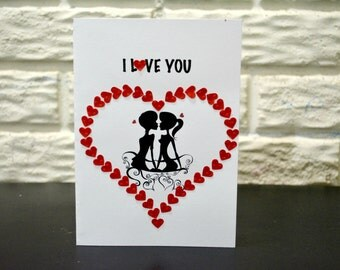 I LOVE YOU card, Anniversary Card, Valentine's day card, Love Card, No occasion card