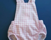 Baby girls romper // playsuit // pink gingham // tie-back // country // baby gift // baby shower // NEW DESIGN  with snap crotch.