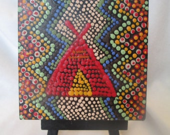 Acrylic Dot painting, Aboriginal inspired Art, Dot painting, original mini 4 x 4 canvas, Small painting with easel, Dot Art, Teepee #190
