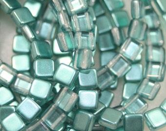 2 Hole Tiles, Czechmates, Satin Teal, 6mm, 25 Beads