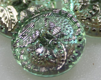 Czech Glass Button, Vintage Style, 18mm