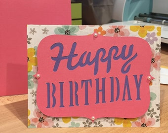 Handmade Happy Birthday Card - Pink Floral with Pearl Embellishments