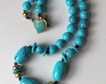 Turquoise Beaded Necklace w/ heart closure