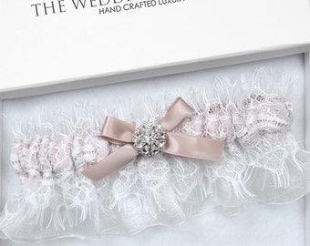 Dusty Pink Wedding Garter, Bridal Garter, White Garter, White Wedding Garter, Wedding Garter, White Chantilly Lace Garter, Blue Garter