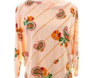 Handmade Pink Paisley Hippie Boho Blouse Medium Large Top