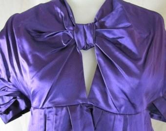 VTG Prada Silk Satin Cropped Blouse, Prada, Italian, Italy, 1990's, 1980's, Purple, Cropped, New Year's Eve, Small, Blouse, Satin, Silk,