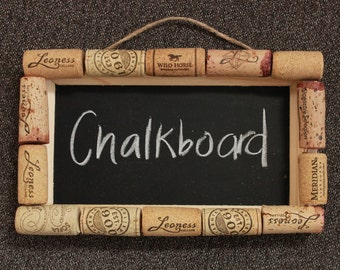 Handmade wine cork chalkboard