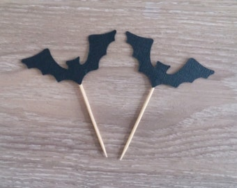 Halloween Cupcake toppers, 12 Bat cupcake toppers, Halloween Party, Halloween Decoration, Scary Cupcake toppers