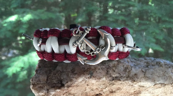 Beach Anchor Paracord Bracelet, nautical theme, with anchor charm and 2 fish hooks,Glow in the Dark white