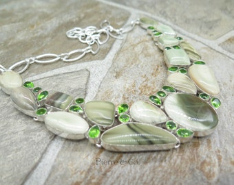 Green Jasper and Peridot Sterling Silver Necklace