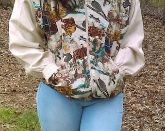 Vintage Silk Jacket From Oleg Cassini, Size 10 or Medium,  Autumns Colors, Women's Jackets, Casual Jacket