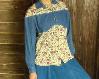 Vintage Western Denim Shirt By Ivy wear Size Medium