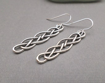 "Celtic Knot Earrings. Free Shipping. Long Silver Celtic Earrings. Large Sterling Silver. Rustic. Boho. Oxidized Black Patina. 2"" Long."