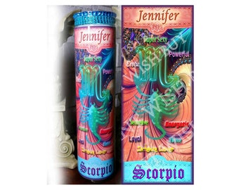 "Personalized Horoscope Zodiac Prayer Candle - 8"" - SCORPIO"