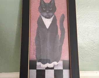 CINDY SAMPSON Country Cat Framed Print 13.5 x 7