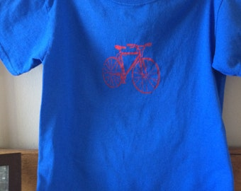 Bicycle T shirt royal blue with red bike youth sm,  great for any occasion