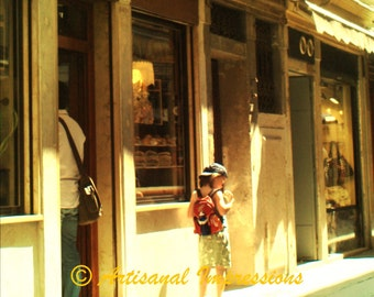 Venice Shopping, Venice Shops, Venice Photo Art, Venice Fine Art Photo, Little Girl Shopping, Girl Outside Candy Shop, Venice Travel Photo