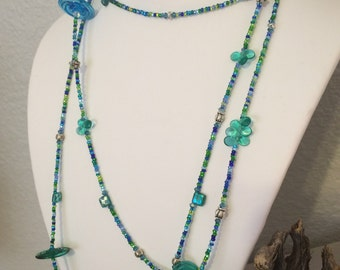 Blue and Green Glass Rope Necklace