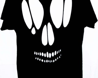 Skull Cutout T Shirt / Goth Skull Cut Out Shirt