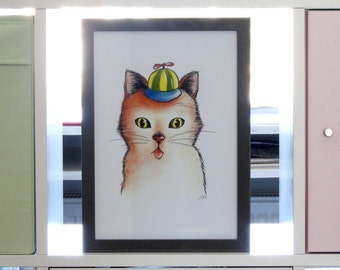 Art print Son cat / Funny cat illustration / 12 x 8.3 inch / 30 x 21 cm / A4 size