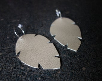 Metallic Leather Leaf Earrings