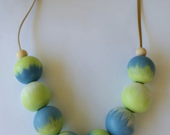 Hand Painted Blue Lime Green White Bead Necklace. free shipping aus