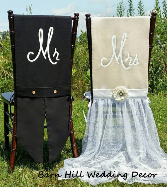 Wedding Chair Covers Mr Amp Mrs Chair Covers Champagne Black