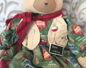 Home Decor Art Bear, Handmade Primitive Bear, Bear Dolls, Art Dolls, Primitive Art Dolls, Handmade Art Dolls, Primitive Doll, Camping Bear