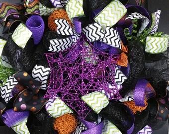 Halloween Wreath - Cobweb Wreath - Fall Wreath - Front Door Wreath